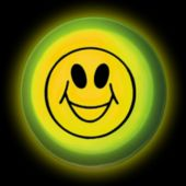 "3"" Yellow Circle Glow Shape With Smiley Face Imprint"