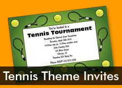 Personalized Tennis Theme Invitations