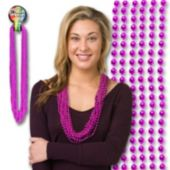 "Pink Bead Necklaces-33""-12 Pack"