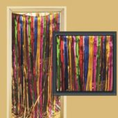 Multi Colored Metallic Fringed Door Curtain