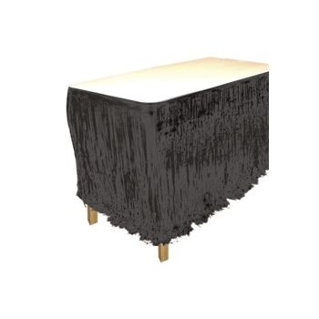 Black Metallic   Fringed Table Skirt