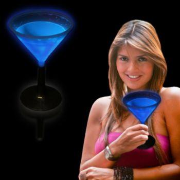 Blue Glowing Martini Glass and Glow Drinkware