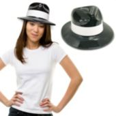 Black Plastic with White Band Fedoras-12 Pack