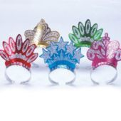 Assorted Color Glitter Tiaras - 12 Pack