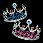 Happy Birthday Jeweled Tiaras - 12 Pack
