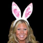 Pink Bunny Ear Headbands - 12 Pack