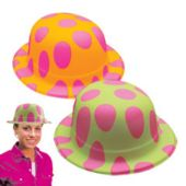 Neon Polka Dot Plastic Derby Hats - 12 Pack