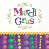 Mardi Gras Bead Party Beverage Napkins - 30 Pack