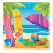 "Surfs Up Beach Party 7"" Square Paper Plates - 8 Pack"