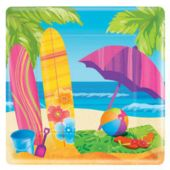 "Surfs Up Beach Party 10"" Square Paper Plates - 8 Pack"