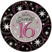 "Sparkle Sweet 16 Birthday Party 9"" Paper Plates - 8 Pack"