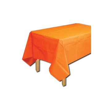 ORANGE SOLID   PLASTIC TABLE COVER