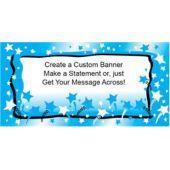 Blue Stars Custom Message Vinyl Banner