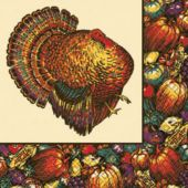 Autumn Turkey Dinner Napkins - 20 Per Unit
