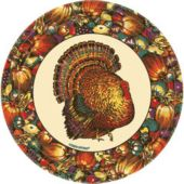 """Autumn Turkey 9"""" Plates - 8 Pack"""