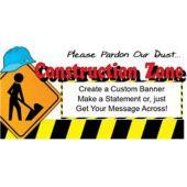 Hard Hat Construction Zone Custom Banner