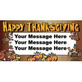 Happy Thanksgiving Custom Message Vinyl Banner