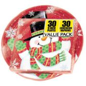 """Snowman 9"""" Plates And Napkins Value Pack - 30 Pack"""