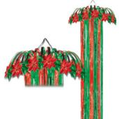Red & Green Metallic Shimmering Column Decoration