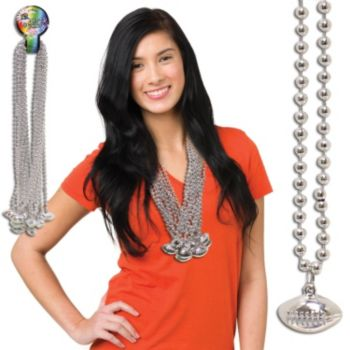 Silver Football Bead Necklaces - 33 Inch, 12 Pack