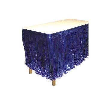 BLUE METALLIC   FRINGED TABLE SKIRT