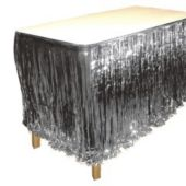 Silver Metallic Fringed Table Skirt