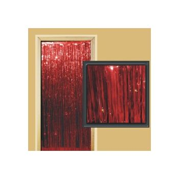 RED METALLIC   FRINGED DOOR CURTAIN