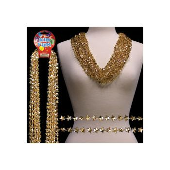 Gold Star Bead Necklaces - 33 Inch, 12 Pack