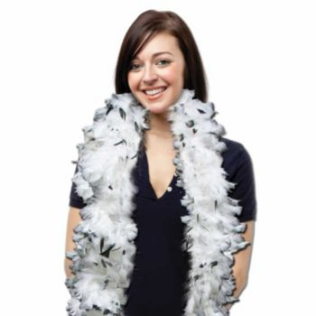 White and Black Feather Boa - 6 Foot