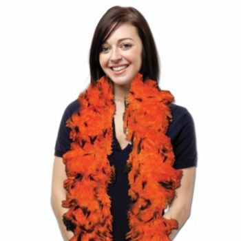 Orange and Black Feather Boa - 6 Foot