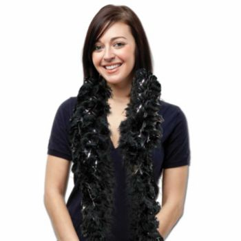BLACK FEATHER 6' BOA   WITH SILVER TINSEL
