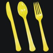 Yellow Plastic Forks Knives or Spoons