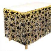 Gold & Black Star Fringed Table Skirt
