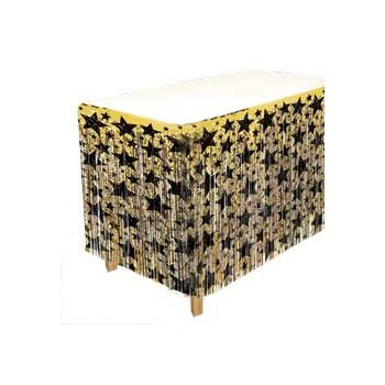 Gold & Black   Fringed Table Skirt