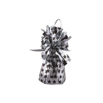 SILVER & BLACK STAR   BALLOON WEIGHT