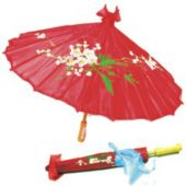 """Red Silk 23"""" Parasol"""