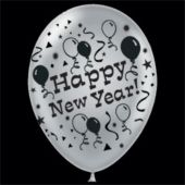 "Silver Happy New Year Latex 14"" Balloons - 25 Pack"