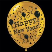 "Gold Happy New Year Latex 14"" Balloons - 25 Per Unit"