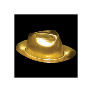 Gold Plastic Fedoras - 12 Pack