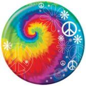 """Woodstock Tie Dye 9"""" Plates - 8 Pack"""
