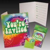 Woodstock Tie Dye Invitations - 8 Pack
