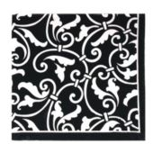 Black Scroll Beverage Napkins - 16 Pack