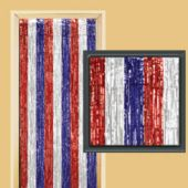 Red, White & Blue Metallic Door Curtain