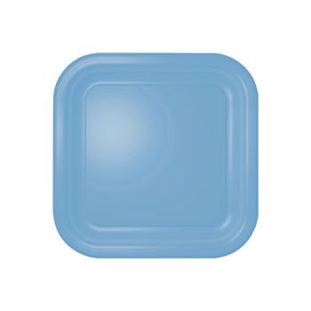 "BABY BLUE SOLID   9"" SQ. PLATES"