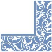 Blue Scroll Luncheon Napkins - 16 Pack