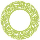 "Lime Green Scroll 9"" Plates - 8 Pack"