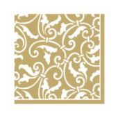 Gold Scroll Beverage Napkins - 16 Pack