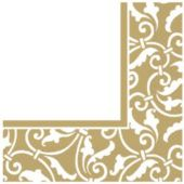 Gold Scroll Luncheon Napkins - 16 Pack