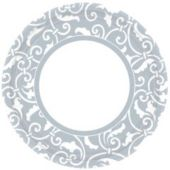 """Silver Scroll 9"""" Plates - 8 Pack"""