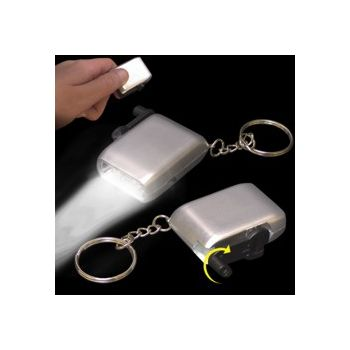 Silver Rechargeable Flashlight Keychain